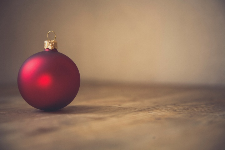 A red christmas ball ornament.