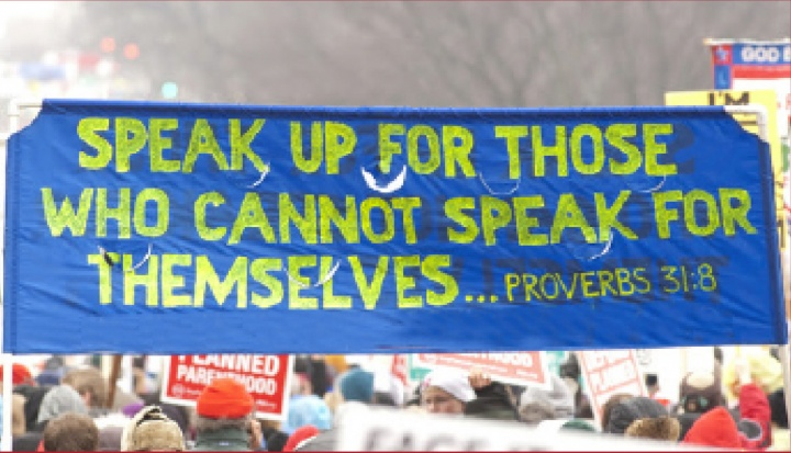 A banner at March of Life march.