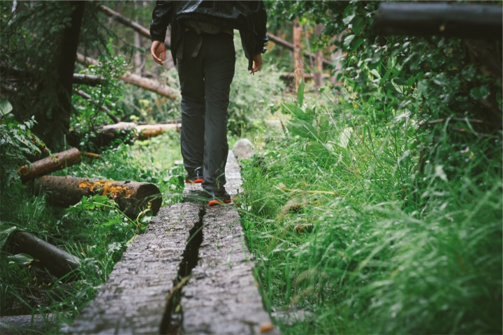 A person walking on wood beams in a forest.
