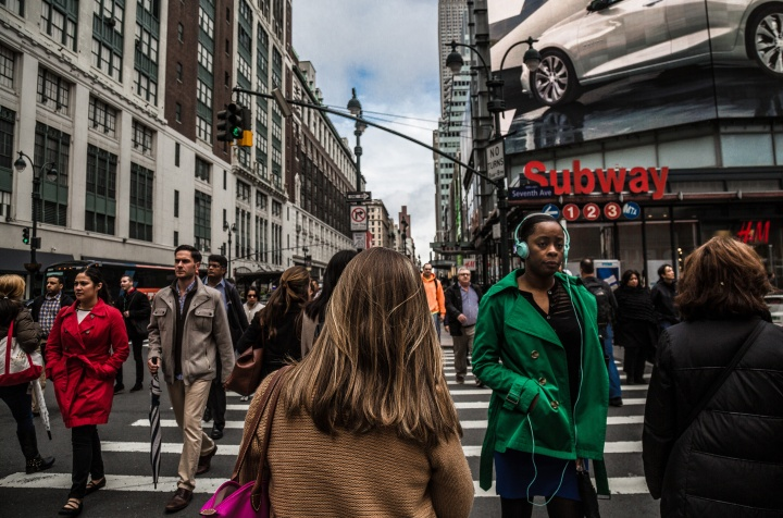 People walking in a busy city.
