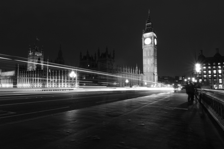 Night scene in London, England with the Big Ben Tower in the back ground.