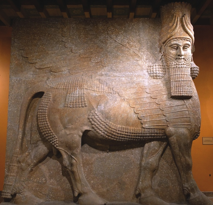This statue is from the palace of the Assyrian king Sargon II in present-day Khorsabad, Iraq.