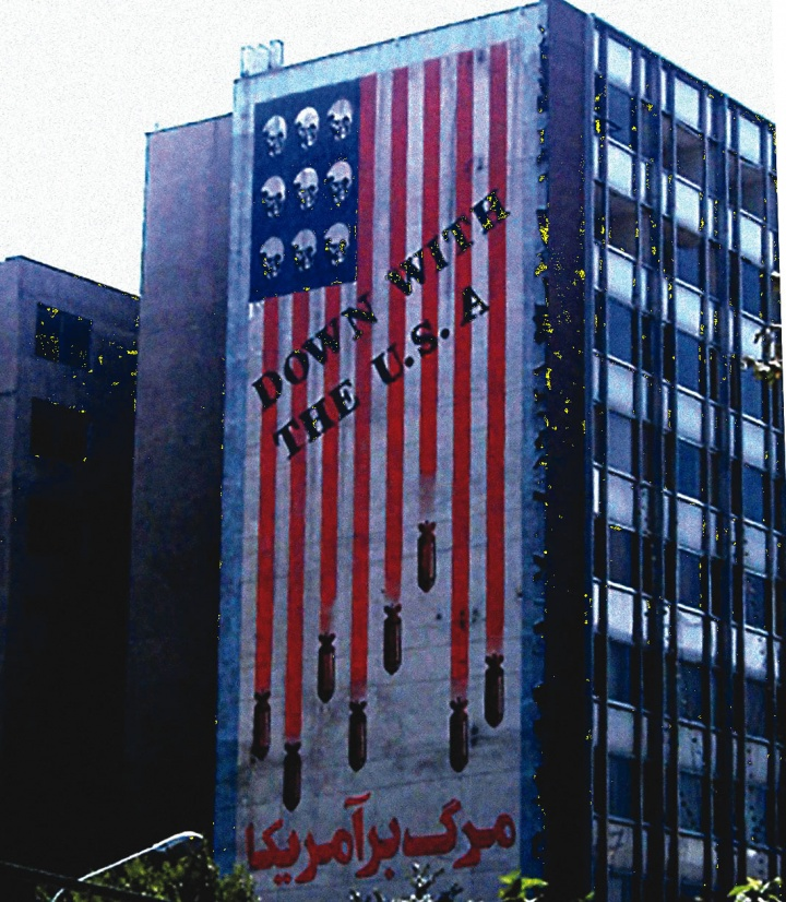 """A huge mural on a Tehran building reads """"Down With the U.S.A."""""""