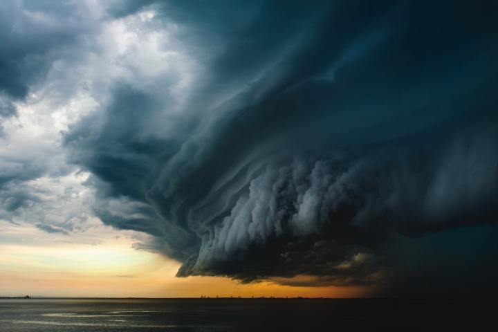 A photos of large dark storm clouds.