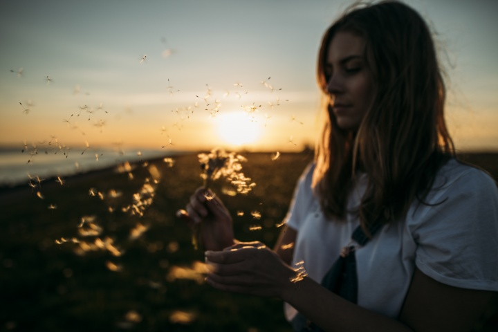 A woman holding a dandelion with the seeds of the plant blowing away.