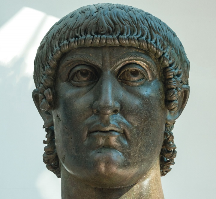 A colossal bronze bust of Roman Emperor Constantine the Great, who legalized a very different form of Christianity in his empire.