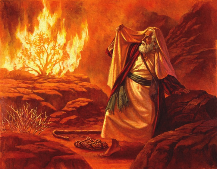 Artist rendition of the I AM appearing before Moses in the fiery bush.
