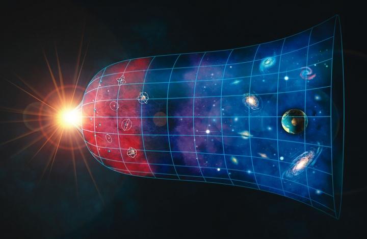 Expanding universe illustration.