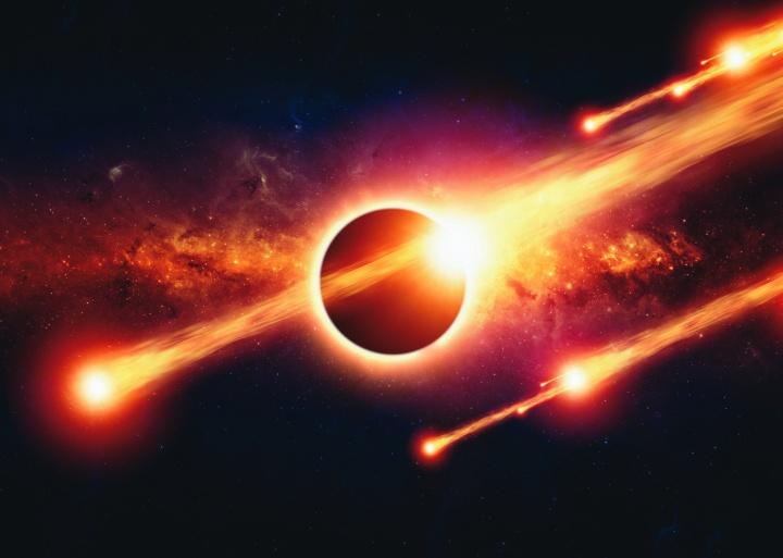 Fireballs going through space.