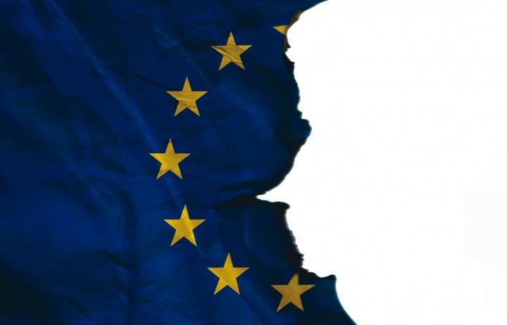 Torn European Union flag.