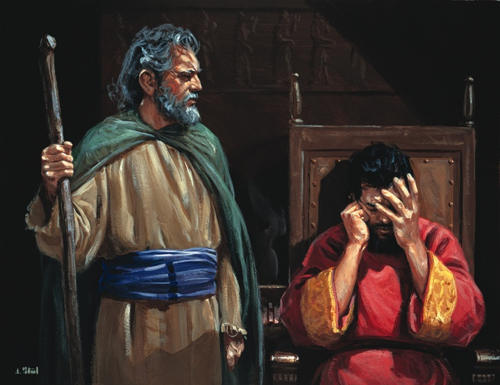 An artist rendition of the prophet Nathan talking to King David.