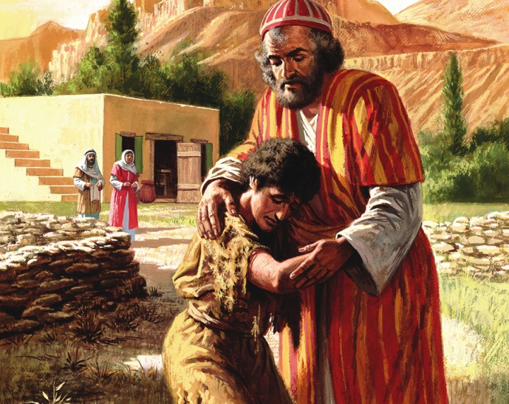 An artist rendition of the parable of the prodigal son.