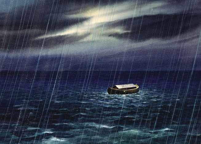 A painting illustration Noah's Ark on the water.