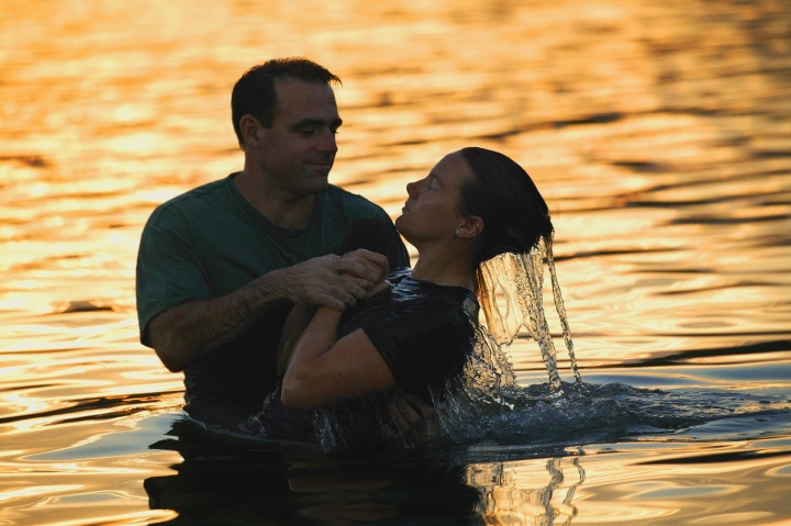 Baptism in water.