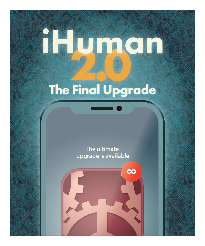 iHuman 2.0 Final Upgrade, a vector illustration of an iPhone with a red update available dot with an infinity in it