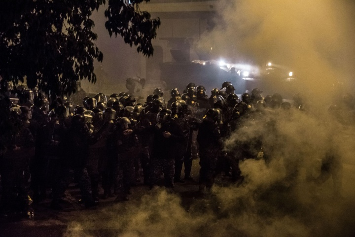 Riot police in the street.