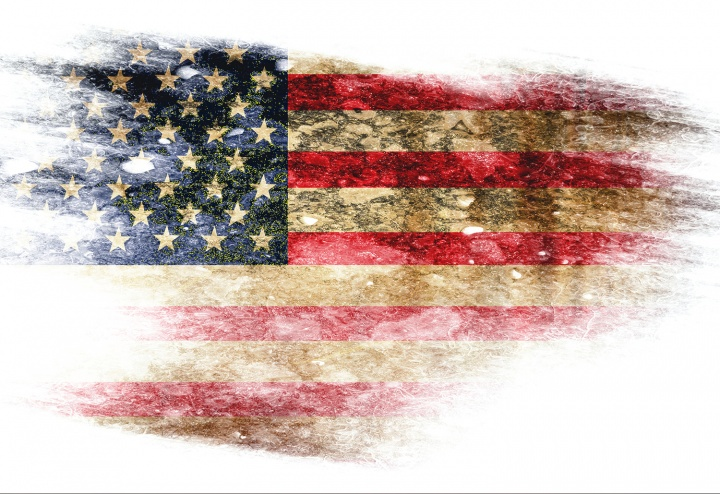 A torn United States flag.