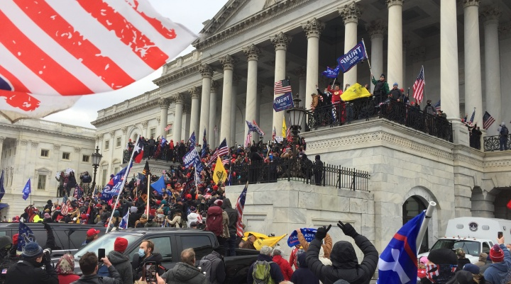 People gathering outside the Capitol building in Washington, DC.
