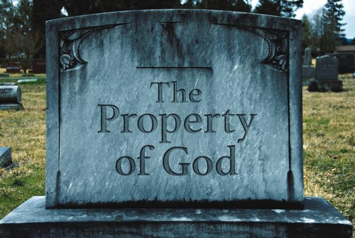 A gravestone marker.