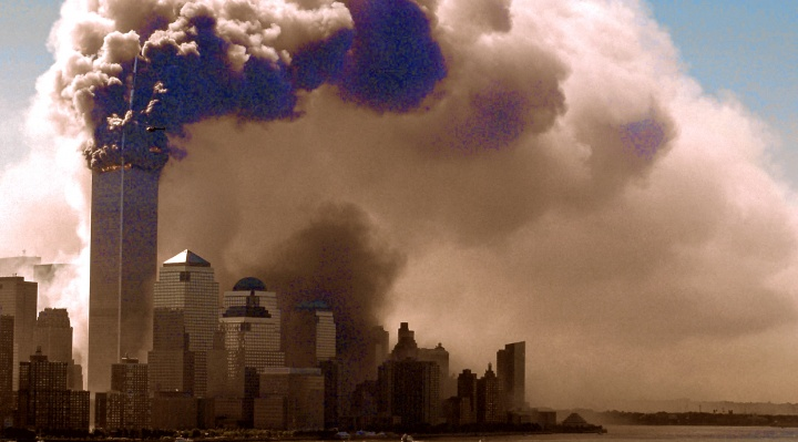 The Twin Towers in NYC burning.