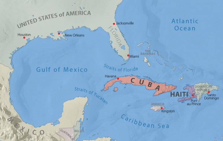 Map of Gulf of Mexico and the Caribbean Sea.