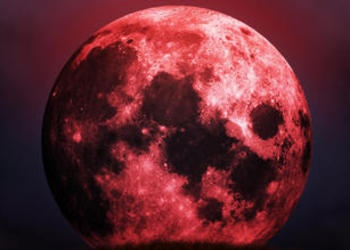Photo illustration of a blood moon.