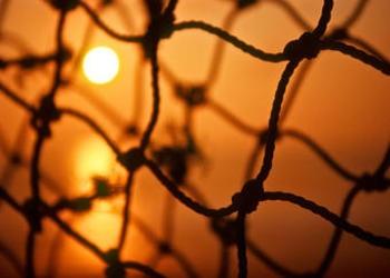 Close up of a fishing net.