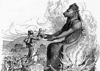 Offering child sacrifice to Molech - 1897 Bible Pictures and What They Teach Us: