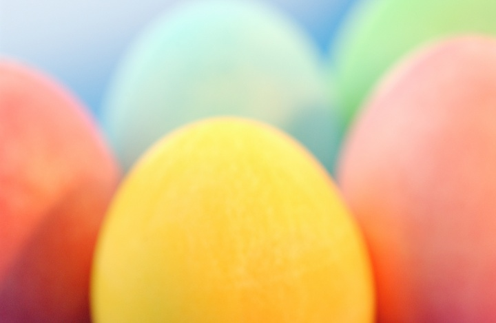 Upclose colored Easter eggs.