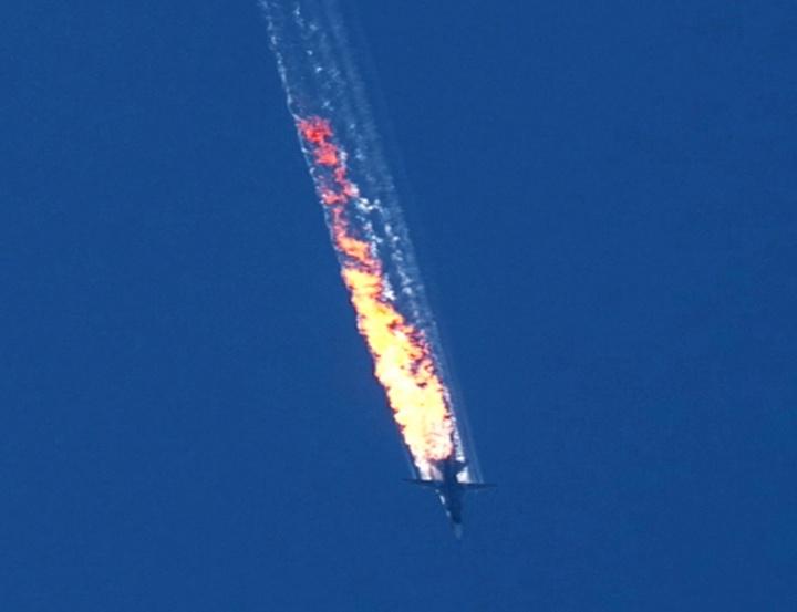 Video still of plane crash.