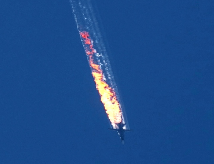 Video still of plane crash.