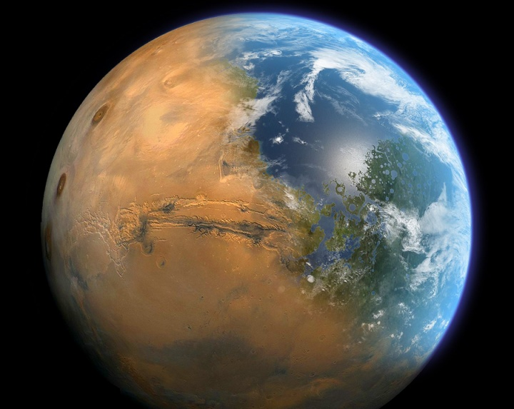 Photo illustration of a merging of Earth and Mars from outerspace.
