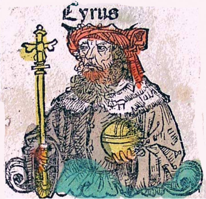 Artist illustration of King Cyrus - Colored woodcut from a 1480 edition of the Polychronicon