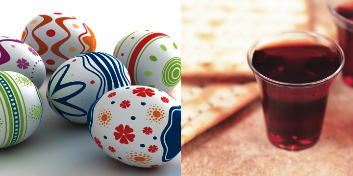Easter eggs and a small cup of wine.