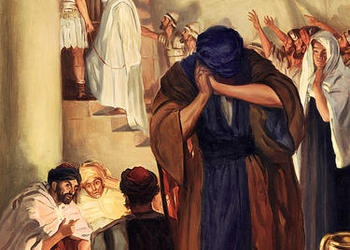 Painting illustrating Peter weeping after denying Jesus Christ.