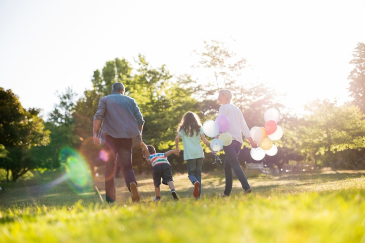 A family walking in a park.
