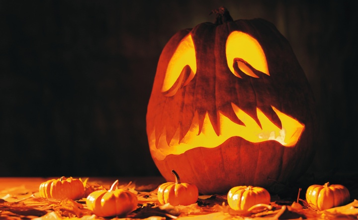 A carved pumpkin.