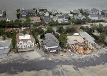 Aerial image of the damage by Hurricane Sandy.