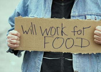 "A man holding a ""will work for food"" sign."