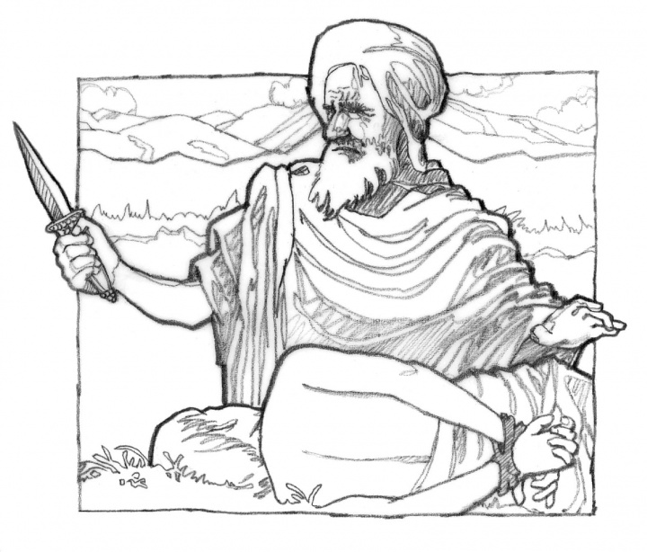 Illustration of Abraham preparing to offer Isaac as a sacrifice.