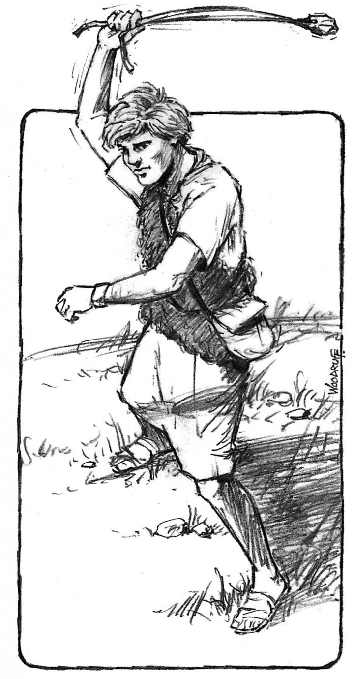 Illustration of David using a slingshot.