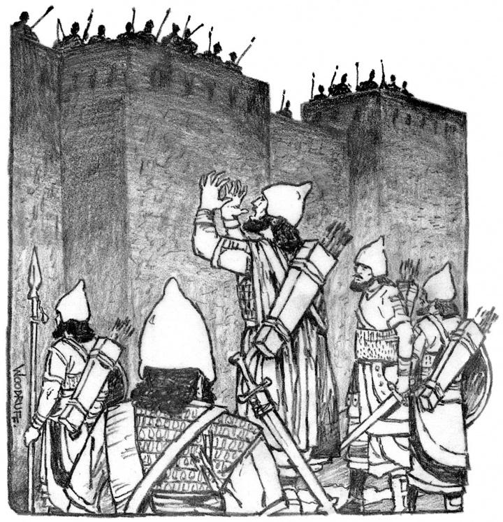 Illustration of Assyrians attacking Jerusalem