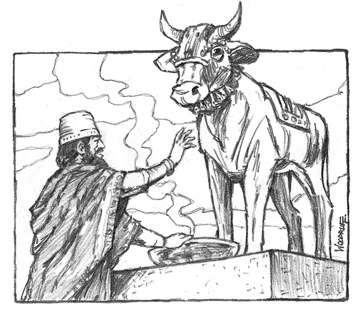 Illustration of Jeroboam and calf idol.