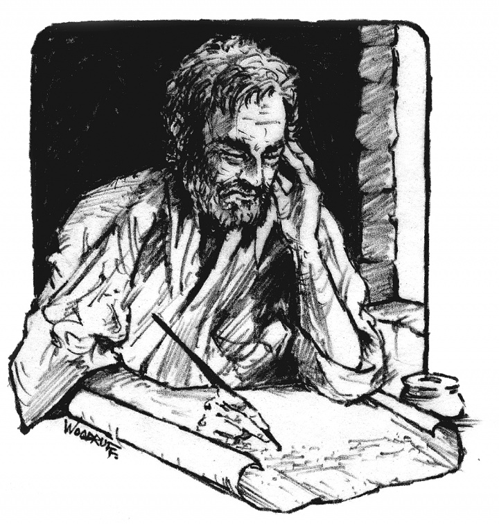 Illustration of John writing the book of Revelation.