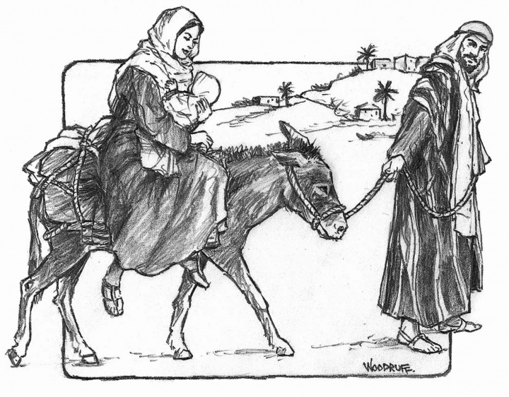 Illustration of Joseph and Mary fleeing to Egypt.