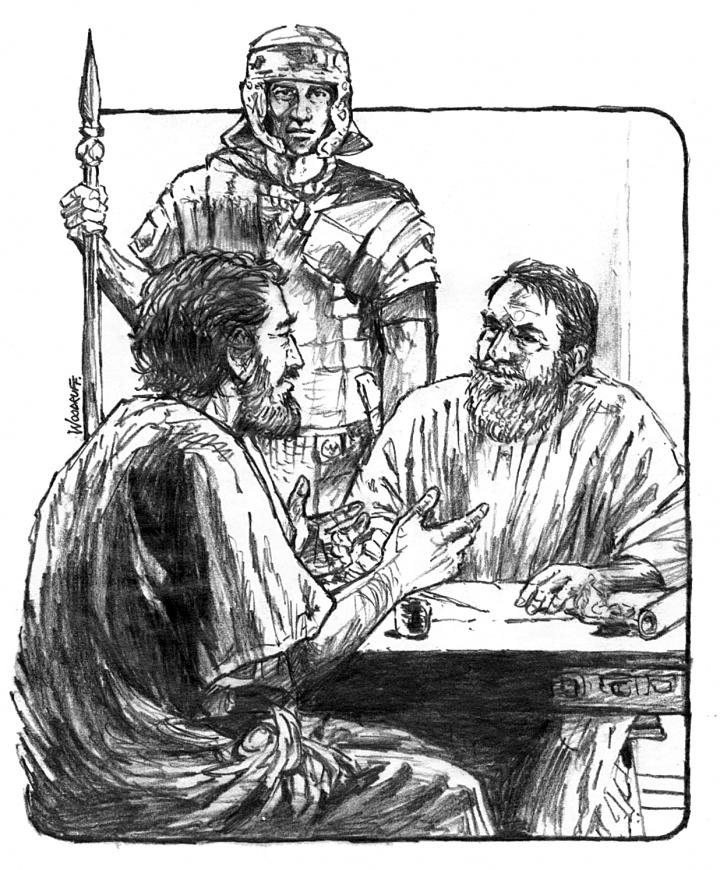 Illustration of Luke talking to Paul