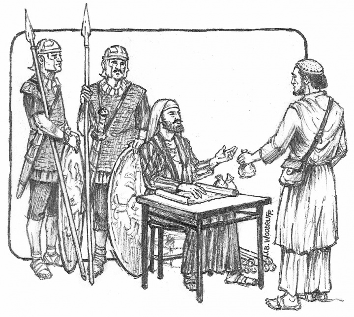 Illustration of taxes being paid to Matthew the tax collector.