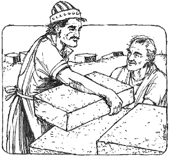 Illustration of Nehemiah helping to build the wall around Jerusalem.