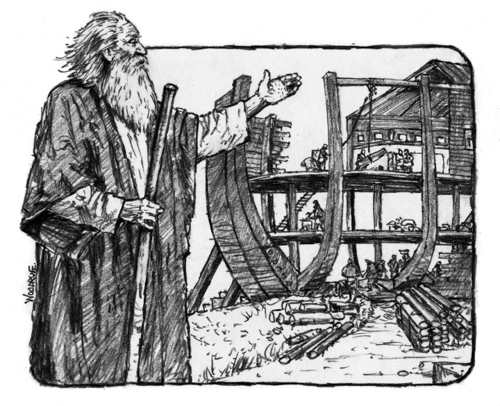 Illustration of Noah building the ark.