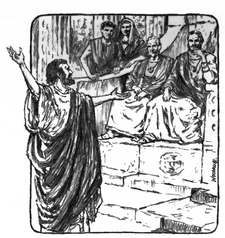 Illustration of the apostle Paul preaching.